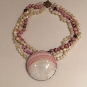 Jewelry - Fanciful 3 strand necklace in muted shades of pink